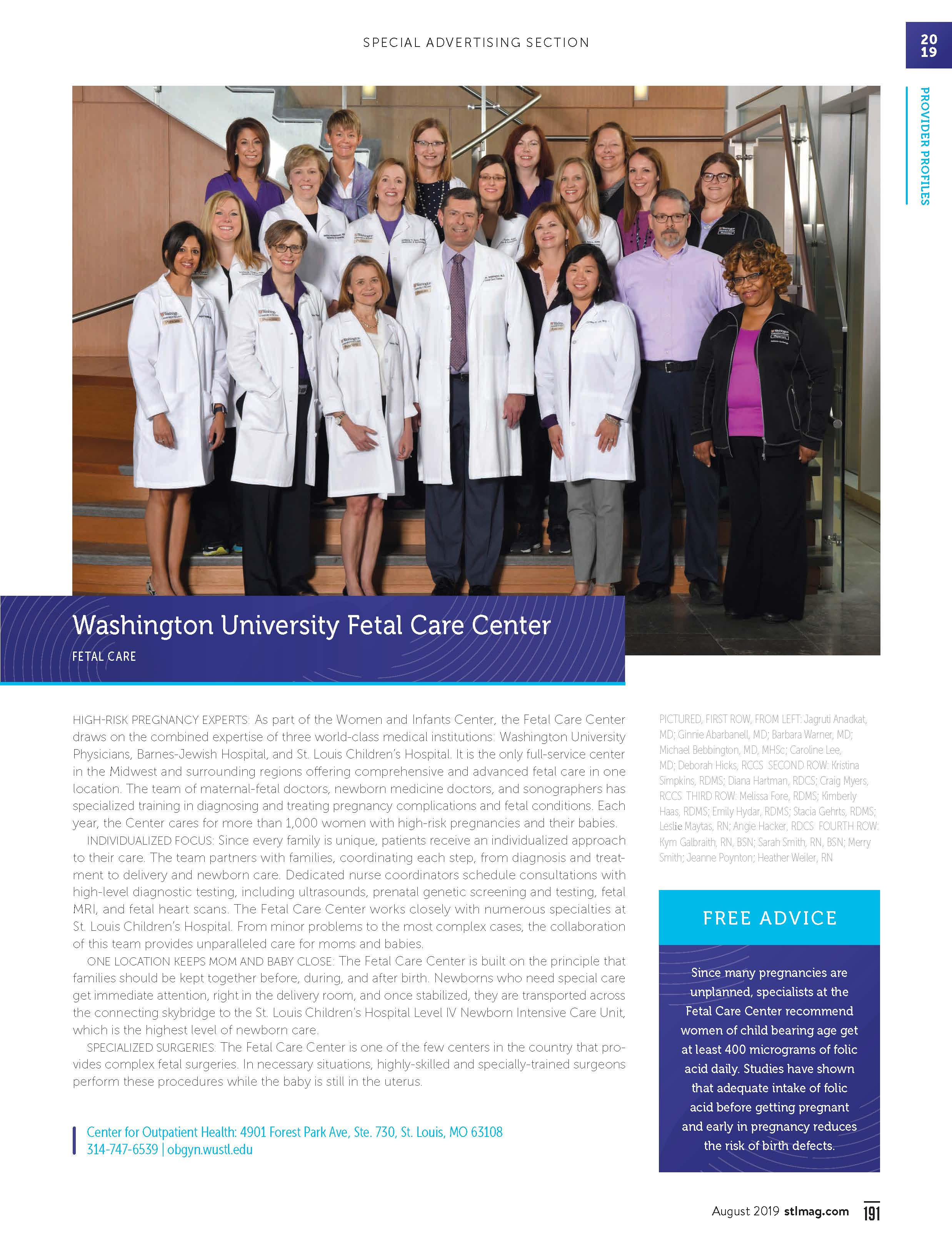 Fetal Care Center   Department of Obstetrics & Gynecology